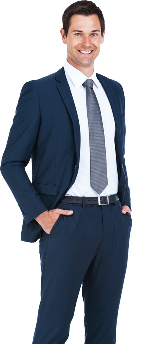 young professional man in a navy suit