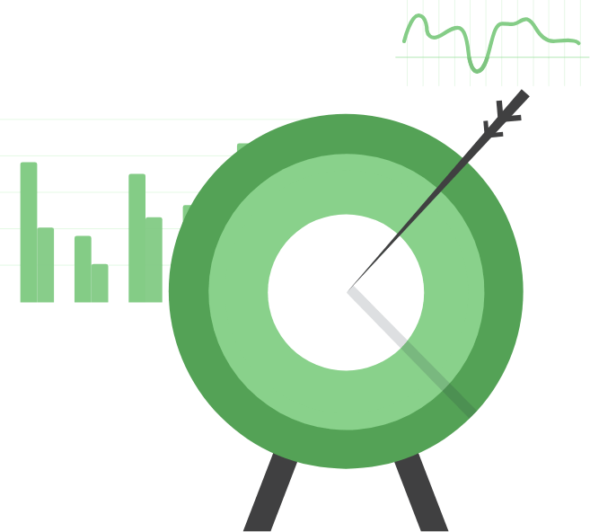 Green target bulls eye with statistics behind