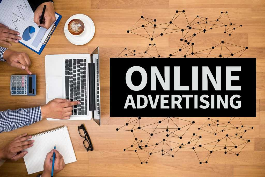 online advertising banner with laptop