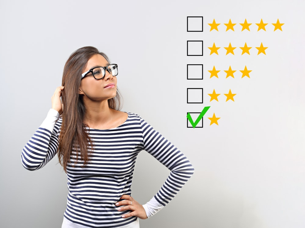 woman looking at negative review chart