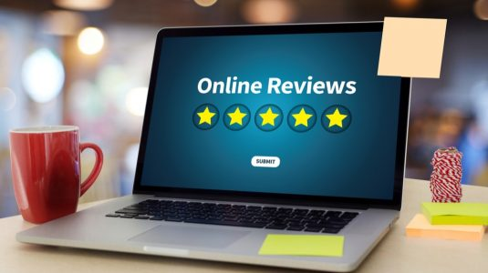 Positive Reviews showing on a laptop