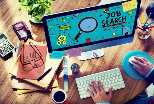 job search posting strategy on laptop
