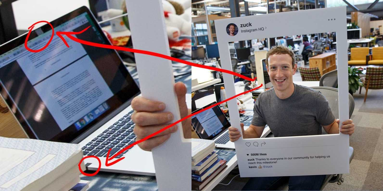 Mark Zuckerberg in a frame protecting his online privacy