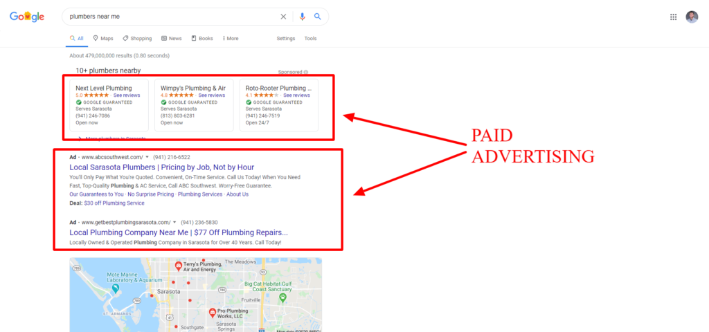 screenshot of paid search results on serp