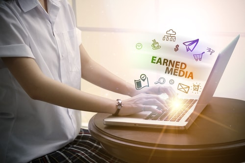 Earned media as part of a public relations strategy