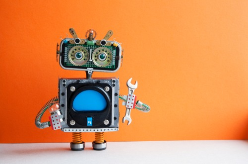 robot with orange background