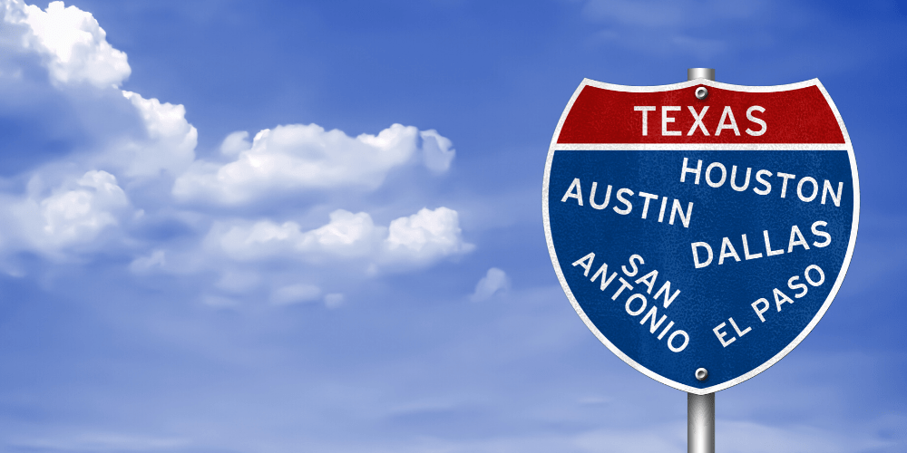Texas in red sign