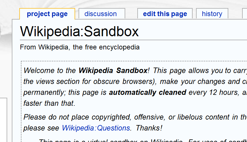 how to create a wikipedia page with sandbox